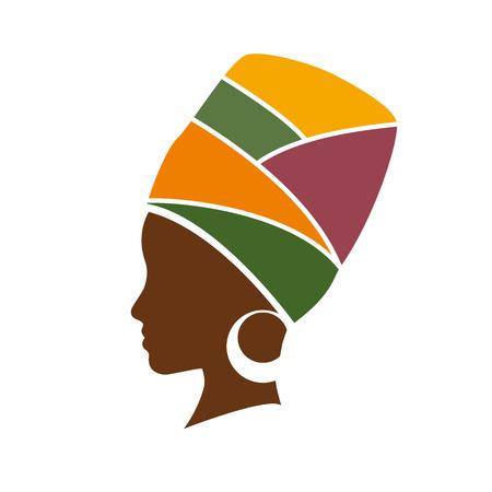 Ilustración de Vector profile of african woman with hat - Imagen libre de derechos