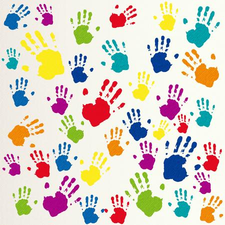 Ilustración de Vector friendship background, handprints - Imagen libre de derechos