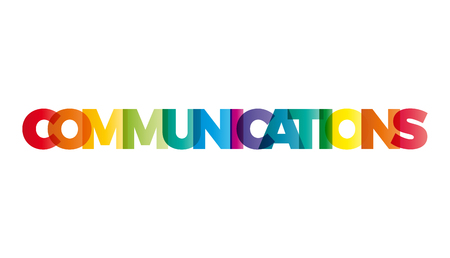 The word Communications. Vector banner with the text colored rainbow.