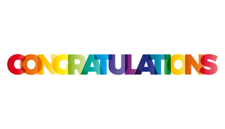 Illustration pour The word Congratulations. Vector banner with the text colored rainbow. - image libre de droit