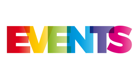 Illustration pour The word Events. Vector banner with the text colored rainbow. - image libre de droit