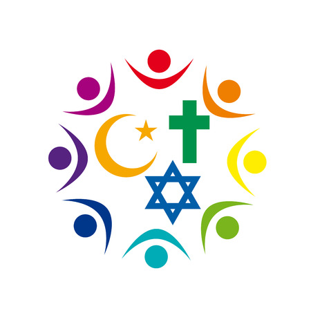 Illustration pour Peace and dialogue between religions. Christian symbols, jew and Islamic - image libre de droit