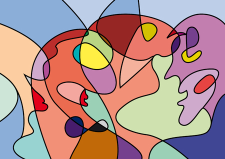 Illustration pour abstract people in confusion, colorful vector background - image libre de droit