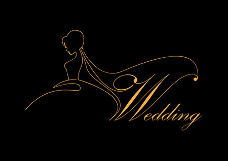 Illustration pour Vector sign bride with veil, wedding concept - image libre de droit