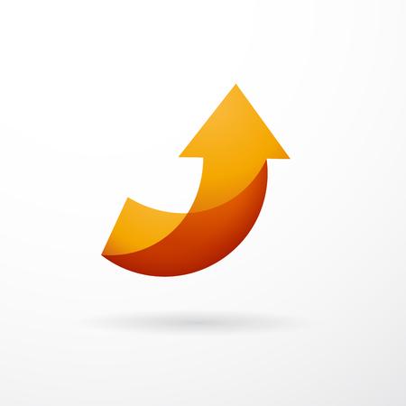 Ilustración de Vector sign orange arrow up, abstract shape - Imagen libre de derechos
