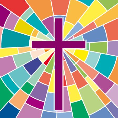 Illustration pour Abstract crucifix, rood on colored glass - image libre de droit