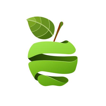 Illustration pour A Vector sign peeled green apple on plain background. - image libre de droit