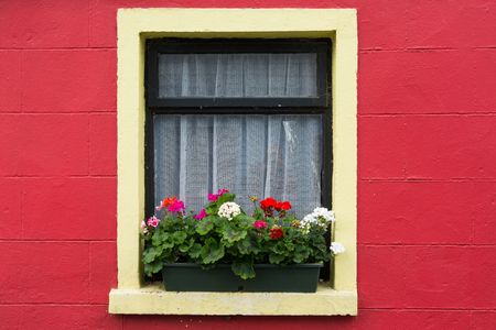 Landscapes of Ireland. The colored windows of Cong in Galway county