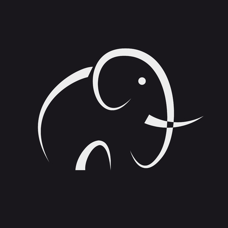 Illustration for Simple vector abstract elephant on black background - Royalty Free Image