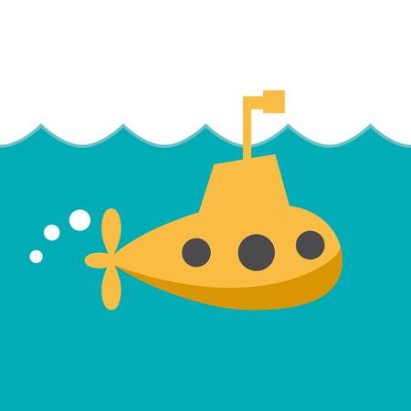 Illustration pour Vector sign cheerful submarine - image libre de droit