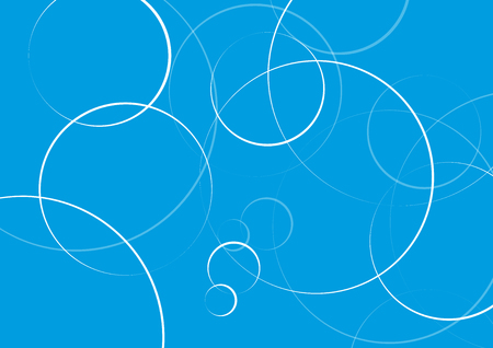 Illustration pour Abstract minimal geometric round circle shapes design background in blue, copy space - image libre de droit
