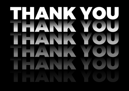 Illustration pour the word thank you in repetitive form, vector text in black background - image libre de droit