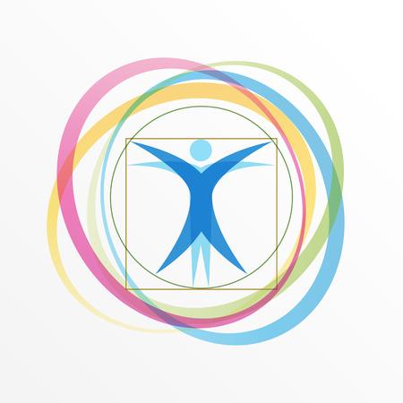 Illustration pour Simple stylized Vitruvian Man with orbiting rings - image libre de droit