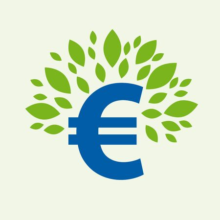 Illustration for Green deal. Conceptual illustration with leaves and euro sign - Royalty Free Image