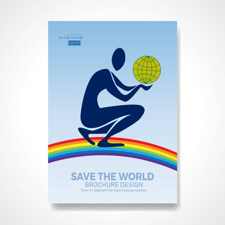 Illustration pour Kneeling man holding the earth over a rainbow in his hands. Retro vector background and illustration. Abstract design template for brochures, flyers, magazine, business card, book covers, poster.  - image libre de droit