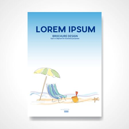 Illustration pour Umbrella and deckchair on beach. Drawing done with pen. Retro vector summer background and illustration. Abstract design template for brochures, flyers, magazine, business card, book covers, poster.  - image libre de droit