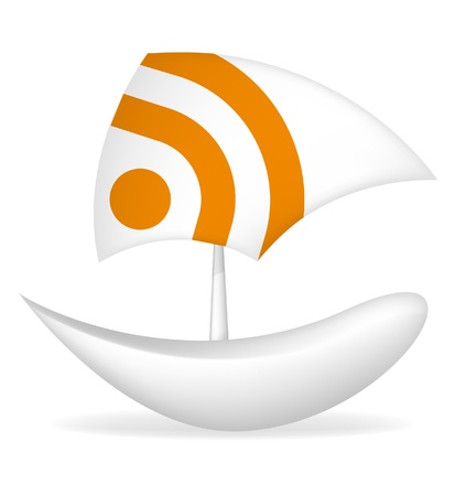 Foto per paper boat rss icon - Immagine Royalty Free