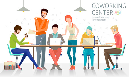 Illustration pour Concept of the coworking center. Business meeting. Shared working environment. People talking and working  at the computers in the open space office. Flat design style. - image libre de droit