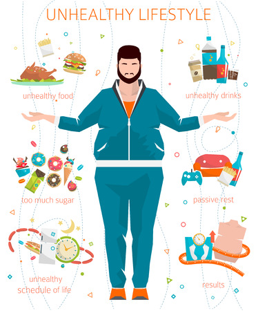 Illustrazione per Concept of unhealthy lifestyle / fat man with his bad habits / vector illustration / flat style - Immagini Royalty Free