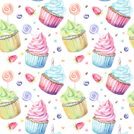Sweet delicious watercolor pattern with cupcakes. Hand-drawn background. Vector illustration.
