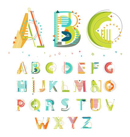 Illustration pour Alphabet / Geometric style / Letters - image libre de droit