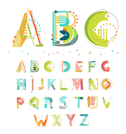 Ilustración de Alphabet / Geometric style / Letters - Imagen libre de derechos