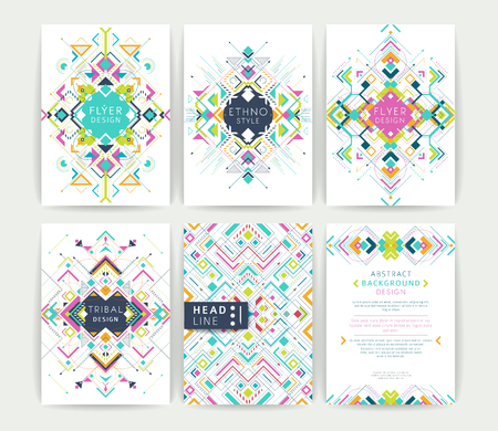 Vektor für Set of geometric abstract colorful flyers / brochure templates / design elements / modern backgrounds / line art - Lizenzfreies Bild