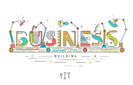 Illustration pour Concept of creating and building business / Robotic production line / manufacturing and machine / typography - image libre de droit