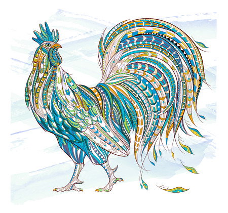 Patterned rooster on the grunge background. Symbol of chinese new year / African / indian / totem / tattoo design. It may be used for design of a t-shirt, bag, postcard, a poster and so on.