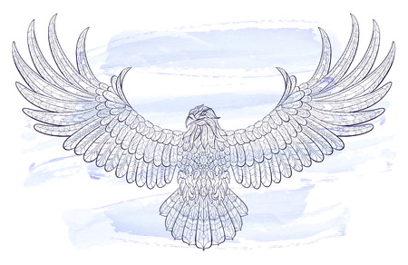 Illustration for Patterned flying eagle on the watercolor background. African / indian / totem / tattoo design. It may be used for design of a t-shirt, bag, postcard, a poster and so on. - Royalty Free Image
