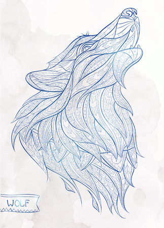 Illustration pour Patterned head of the howling wolf on the grunge background. African / indian / totem / tattoo design. It may be used for design of a t-shirt, bag, postcard, a poster and so on. - image libre de droit