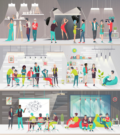 Illustration pour Concept of big art space. Art people work together in coworking place. Art office. Discussion, presentation, painting, design, librery, photography, lounge, meeting. Vector flat illustration. - image libre de droit