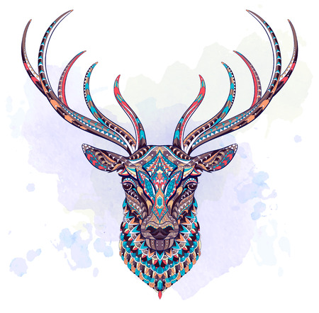 Patterned head of the deer on the grunge background. African, indian, totem, tattoo design. It may be used for design of a t-shirt, bag, postcard, a poster and so on.