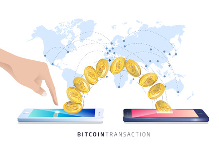 Bitcoin transaction. Hand with smartphones. Cryptocurrency. Vector isometric illustration.