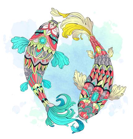 Illustration pour Patterned carps on watercolor background. - image libre de droit