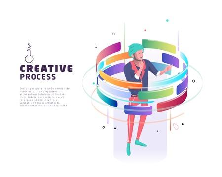 Ilustración de Isometric concept of creative process. Business concept. Vector illustration. - Imagen libre de derechos