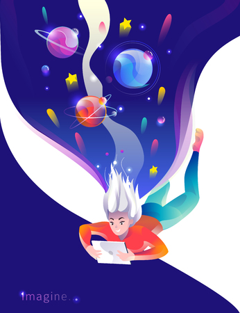Illustration pour Concept in flat style with woman falling down with tablet. Space and planets. Education, game, reading, inspiration, imagination, fantasy. Vector illustration. - image libre de droit