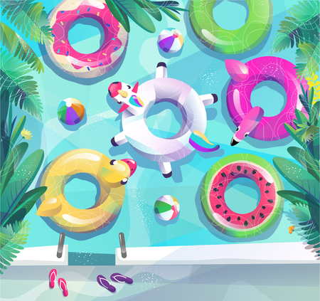 Ilustración de Concept in flat style. Summer pool party poster. Many circles float in pool or sea. Vector illustration. - Imagen libre de derechos