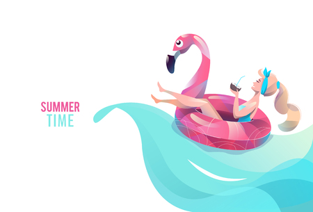 Ilustración de Concept in flat style with woman swimming with circle. Vacation and relaxation. Sunbathing. Vector illustration. - Imagen libre de derechos