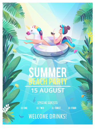 Ilustración de Concept in flat style. Summer beach party poster. Woman floats with circle. Vector illustration. - Imagen libre de derechos