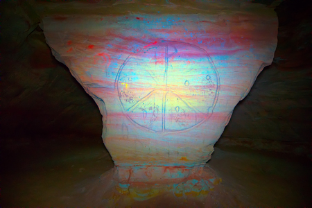 Mysterious sign in cave system in form of solar figure, reminiscent of signs of first Christians in catacombs