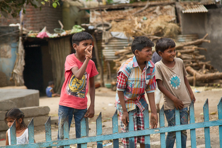 India, Pune - April 6, 2018: Indian children in the yard of his house.