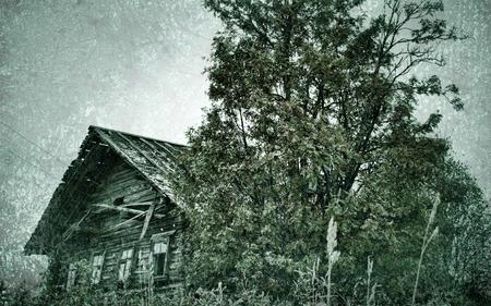 Photo pour North-West wooden architecture. Old photo in vintage style - image libre de droit