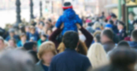 Photo pour strong blurred, crowds of anonymous people on a city holiday in metropolis - image libre de droit