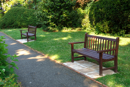 Photo for Stylish bench in English summer garden park. - Royalty Free Image