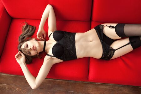 Photo pour aroused sexy girl in lingerie and stockings lying on the couch - image libre de droit