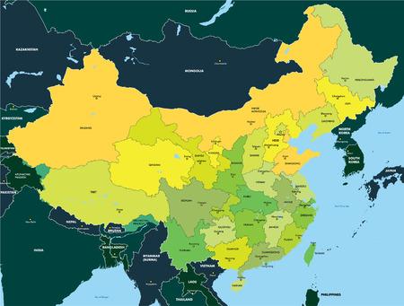 Illustration pour Color map of China - image libre de droit