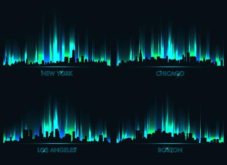 Illustration pour Neon skyline American cities: new york, chicago, los angeles, boston - image libre de droit