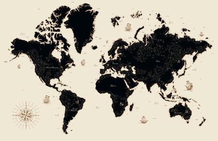 Illustration pour Decorative old map of the world - image libre de droit