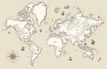 Illustration pour High detailed, Old world map with decorative elements - image libre de droit
